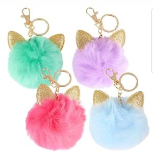 unbranded Other - Pom Poms Key Chain Cat Ears Glitter